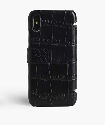 iPhone Xs Max Card Case Crocodile Black