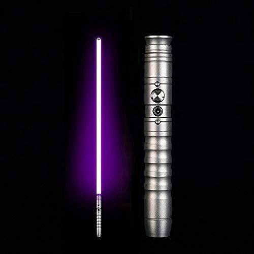 LightSaber - Sable de luz de metal de aluminio Hilt Force FX con 2 fuentes de sonido LED recargables sables de luz para adultos y niños, mango plateado morado (mango plateado)