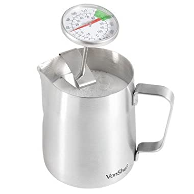 VonShef Milk Frothing Pitcher Jug, Stainless Steel, Suitable for Coffee, Latte and Frothing Milk, Available in 12 Ounce, 20 Ounce and 32 Ounce Sizes, Silver