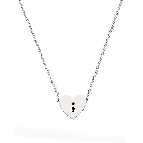 KUIYAI Heart Semicolon Necklace with Black Hand Stamped Symbol (Stainless Steel Heart)