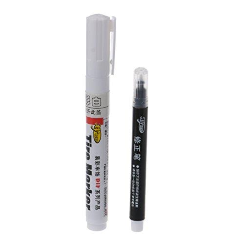 VIccoo Rotulador, 1 Juego de rotuladores de Llantas permanentes de Color Blanco para Llantas de automóviles y Llantas de Motocicletas