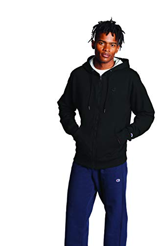 Champion Men's Powerblend Fleece Full-Zip Hoodie, Black, 3XL