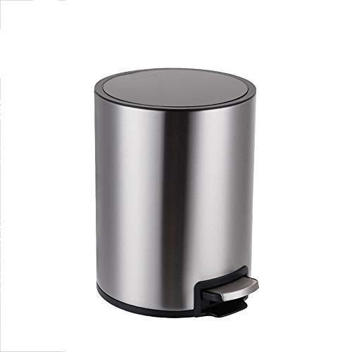 Hyxqy Pedaalemmer voor de keuken, van roestvrij staal, met deksel en uitneembare binnenemmer, 6 liter, champagne goud 6L zilver.