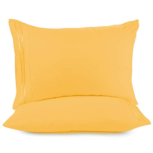 Nestl Bedding Soft Pillow Case Set of 2  Double Brushed Microfiber Hypoallergenic Pillow Covers  1800 Series Premium Bed Pillow Cases King  Yellow