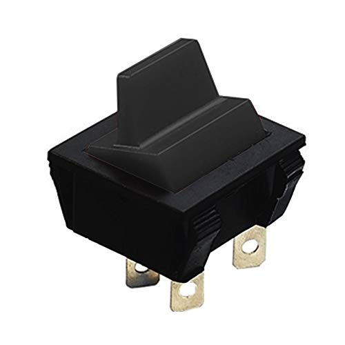 DPST - Interruptor basculante con mango largo (15 A, 250 VCA), color negro y negro