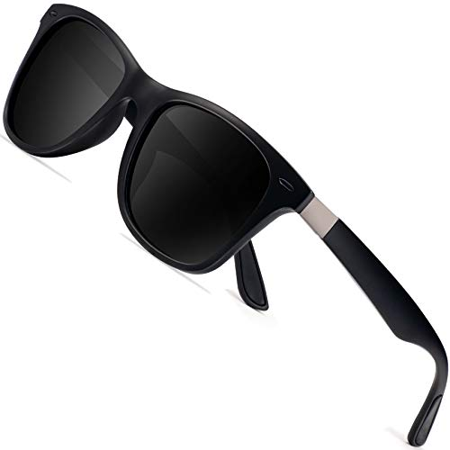 Polarized Sonnenbrillen Herren Vintage Style Sonnenbrillen Damen-Sport im Freien Golf Radfahren Angeln Wandern FD2150 (Schwarz schwarz, 60)