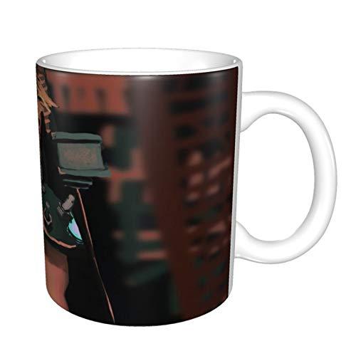 Taza de café divertida de Final Fantasy VII Anime, regalo para el día del padre, regalo para hombres, papá, abuelo, motocicleta, taza de café de cerámica, 325 ml, color negro