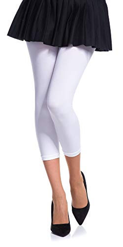 Romartex Damen Mikrofaser Capri Leggings 60 DEN, M/L, weiß