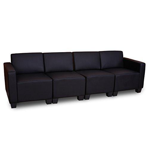 Sistema modulare Lione N71 salotto ecopelle divano 4 posti ~ nero