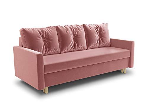 Schlafsofa Rico - Couch mit Schlaffunktion Sofa mit Bettkasten Bettfunktion Bettsofa Skandinavisch Polstergarnitur Bonell-Ferderkern Velours (Pink (Kronos 29))