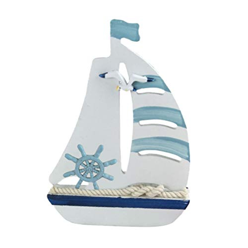 Wooden Nautical Decoration Sailing Boat Ornaments for Home Bedroom Office Desktop Crafts Sailor Nautical Favors Gifts (Large Wooden Sailboat)