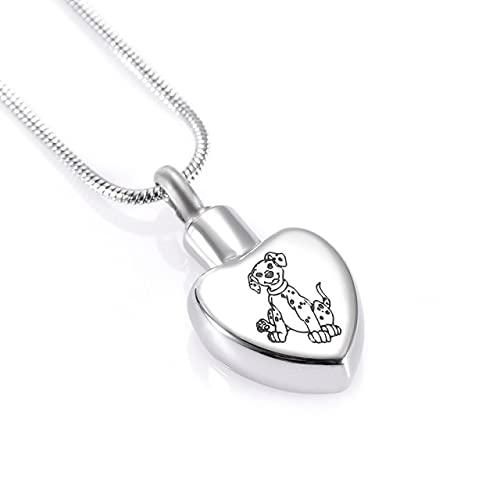 TIANZXS 2 Estilos de Perro Mascota en corazón Colgante de Acero Inoxidable urna Conmemorativa...