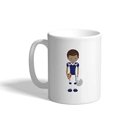 Aangepaste Grappige Koffiemok Koffie Beker Blauw Voetbal Jongen B Wit Keramische Theekop 11 OZ Design Only Multi01