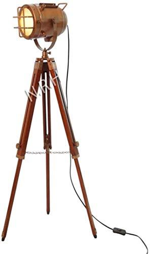 Vintage Antique Hollywood Copper Floor Lamp Marine Wooden Tripod Searchlight Spot Lamp Modern Look Corner Floor Lamp
