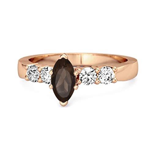 Shine Jewel Multi Elija su Piedra Preciosa Talla marquesa 0.10 Ctw Anillo de espoleta de Princesa Ariana Chapado en Oro Rosa (13, Cuarzo Ahumado)