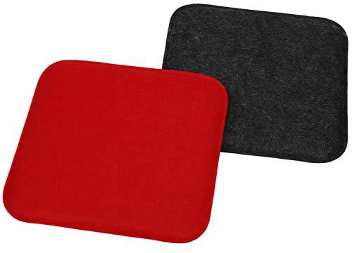 COM-FOUR® 2x gestoffeerde zitkussenset, stoelkussen voor stoelen en banken - hoekige zitkussenhoes voor eetkamer, tuin, route, balkon - 35 x 35 x 2 cm (02 stuks - vierkant antraciet/rood)