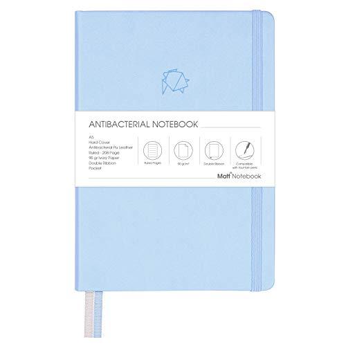 Matt Notebook | Antibakterielles klassisches Hardcover-Notizbuch zum Schreiben, Größe: 15 x 21 cm, A5, Linierte Seiten, 208 Seiten, 90 g/m² Qualitätspapier