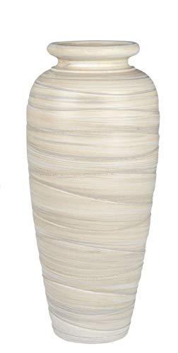 Lifestyle & More Moderne Deko Vase Blumenvase Bodenvase aus Keramik Creme/Braun Höhe 60 cm