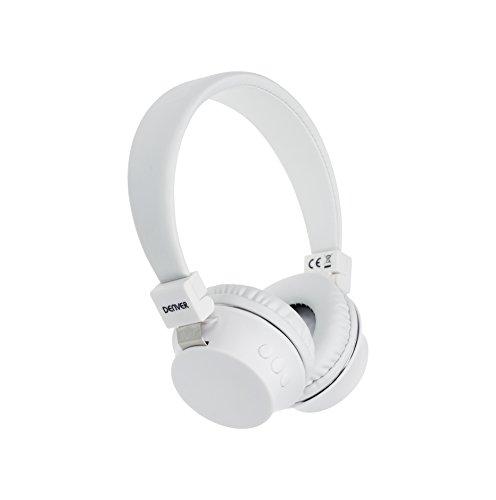 Denver BTH-205 Bluetooth On-Ear Kopfhörer mit Freisprechfunktion, AUX-Eingang Weiß