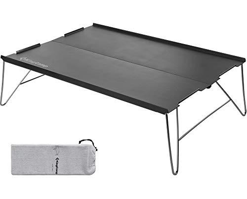 KingCamp アウトドア テーブル ミニ ソロ キャンプ 35x25cm 超軽量0.45kg ローテーブル コンパクト 折りたたみ アルミニウム合金 転落防止加工 安定性 耐摩耗性 耐腐食 ツーリング BBQ