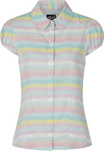 Hell Bunny Damen Oberteil Rainbow Vintage Streifen 50s Bluse Mehrfarbig L