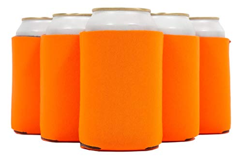QualityPerfection 12 Orange Beer Blank Can Cooler Sleeve, Coolies Sublimation HTV Insulated, Collapsible For DIY Customizable, Favors, Parties, Events or Weddings (12, Orange)