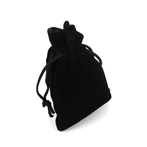 ROSENICE 10 unids 9 * 12 cm Terciopelo con cordón Bolsas de regalo del favor de la boda Bolsas de caramelo Bolsa de la joyería (Negro)