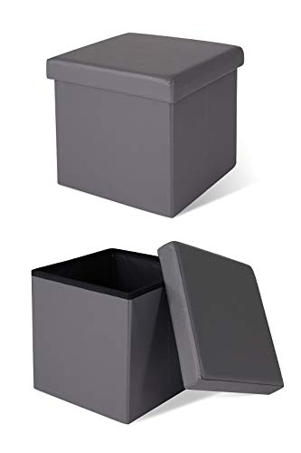 dibea SO00451, Tabouret pliable, simili cuir, 40 L, 38x38x38 cm, Cube pouf Coffre de Rangement, charge max. 300 kg, gris