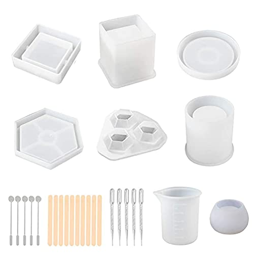 YAOYAN 1 Set Crystal Epoxy Plant Pot Pen Candle Soap Holder Resin Mold Coaster Ashtray Casting Silicone Mould DIY Crafts Making Tools with Measuring Cup Droppers and Stirrers clay molds silicone mini
