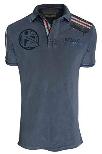 HOTSPOT DESIGN Poloshirt Big Game Cabo Verde, Blau/grau, Gr. L, Angler Polo Hemd, PL-01013S03