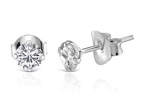 Isabella Silver LONDON Designer Jewellery 925 Sterling Silver 5mm CZ Stud Earrings with 4 Claw Setting