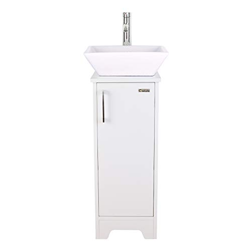 U-Eway 13 inch White Bathroom Vanity and Sink Combo,1.5 GPM Water Save Faucet & Solid Brass Pop Up Drain,Single Small Bathroom,Adjustable Built-in Clapboard (BT8W+A7)