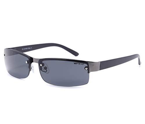 Alsino Lunettes de soleil Viper - Sans monture - Rectangulaires - Légères - Avec protection UV 400 - Collection Viper Eyewear - En différents modèles - Unisexe - Noir