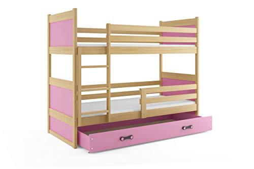 Cama litera doble infantil RICO, color pino - rosa, 200x90, con colchones de espuma (2x 200x90) y somieres de REGALO,