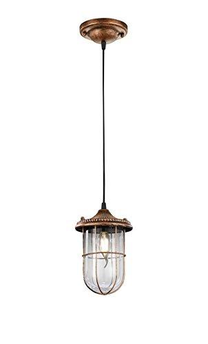 Trio Leuchten LED Pendelleuchte Birte 303800162, Metall kupferfarbig antik, exkl. 1x E14