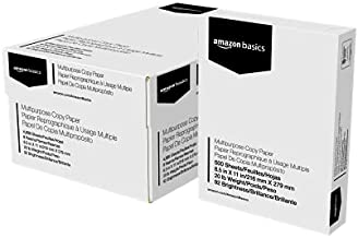 Amazon Basics Multipurpose Copy Printer Paper - White, 8.5 x 11 Inches, 8 Ream Case (4,000 Sheets)
