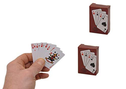 jameitop®♣♠♥♦ Mini Kartenspiel 2er Set kleine Spielkarten für Reise / Urlaub Karten Spiel winzig 54 x 36 mm ♣♠♥♦