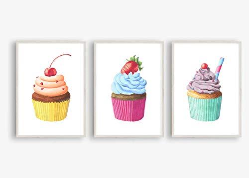 Din A4 Kunstdruck ungerahmt 3-teilig - Cupcake Kuchen Törtchen Torte Früchte Backen Aquarell Küche Esszimmer Geschenk Druck Poster Bild