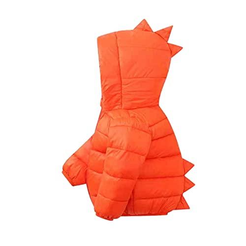 Chaleco con capucha para bebé y niña, para exteriores, diseño de dinosaurio, sin mangas, chaqueta cálida, traje de nieve, naranja, 2-3 Años