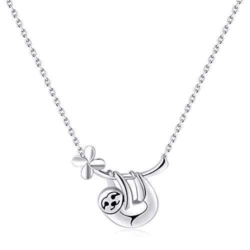 hugttt Damen Faultier Halskette 925 Sterling Silber Slow Down Be Happy Faultier Anhänger Halskette Nette Tier Anhänger Schmuck Charm Geschenke für Frauen Mädchen