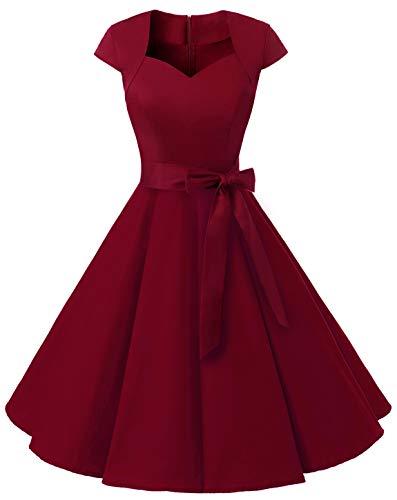 MuaDress 1960 Damen Vintage 50er Rockabilly Retro Kleider Eleganter Faltenrock mit Flügelärmeln Dunkelnrot M