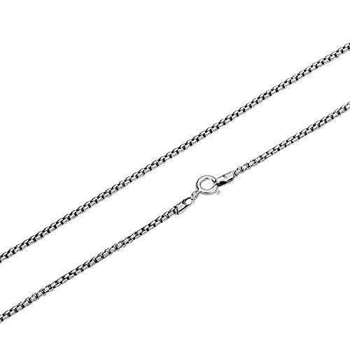 Collar vintage de plata de ley 925 con cadena para hombres y mujeres, 2 mm, 20/22/24/26/28 pulgadas, Metal,