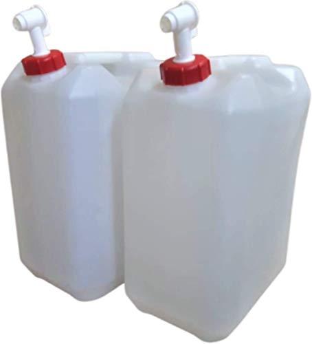 Garrafas Agua Camper 2 Unidades con Grifo 25 litros homologado ADR Transparente Boca Ancha Ideal para Agua Gasolina y químicos depósito Aire Acondicionado Camping Furgoneta Camper Uso Alimentario