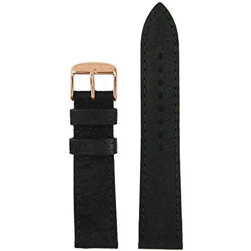 Kapten & Son horlogeband vintage leer zwart wisselarmband horlogeband roséverguld roestvrij staal 20 mm