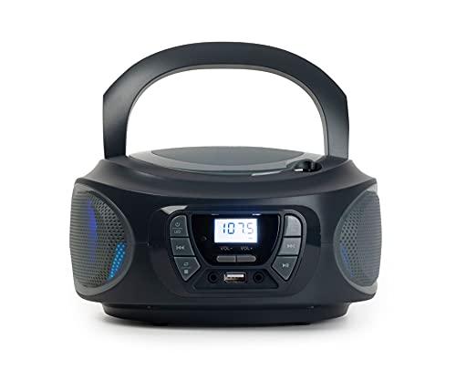 RADIO CD FONESTAR BOOM-ONE-G GRIS 4W RMS BLUETOOTH FM USB/MP3 AUX IN SALIDA AURICULARES EFECTOS LUMINOSOS