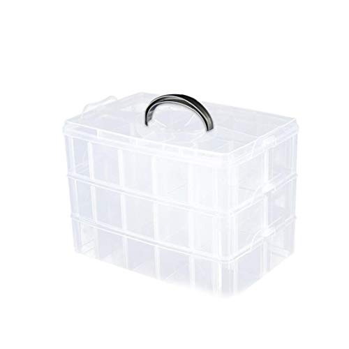 3-Tier Clear Storage Box Stackable Multi Slot Craft Organizer 24 * 16 * 18cm Storing Toy Jewelry Accessory