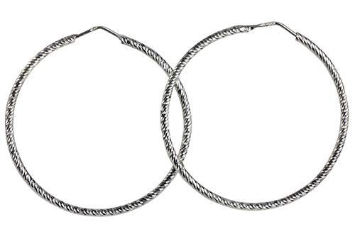 SILBERMOOS Damen Creolen rund Kreis glänzend diamantiert 925 Sterling Silber Ohrringe