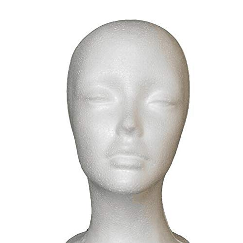 Jorzer Tête De Mannequin Polystyrène Tête Femme Mousse De Polystyrène Mousse Modèle De Tête Manikin Mannequin Perruque Lunettes Cheveux Chapeau D'affichage