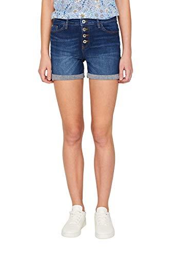 edc by ESPRIT Damen Shorts, Blau (Blue Dark Wash 901), W42(Herstellergröße: 33)
