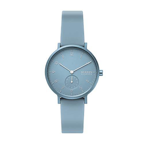 Skagen Reloj Analogico para Mujer de Cuarzo con Correa en Silicona SKW2764, Azul
